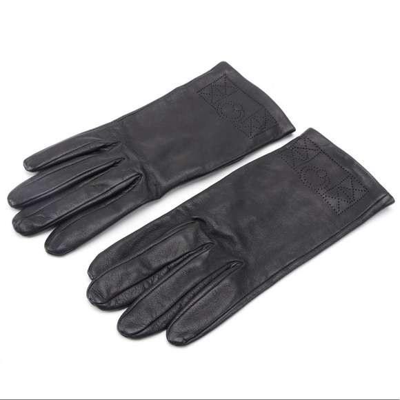 HERMES Black Perforated Collier de Chien Glove 7.5